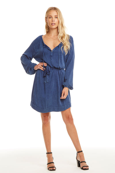 Heirloom Wovens L/S Raglan Hi-Lo Shirttail Dress W/ Belt, WOMENS, chaserbrand.com,chaser clothing,chaser apparel,chaser los angeles
