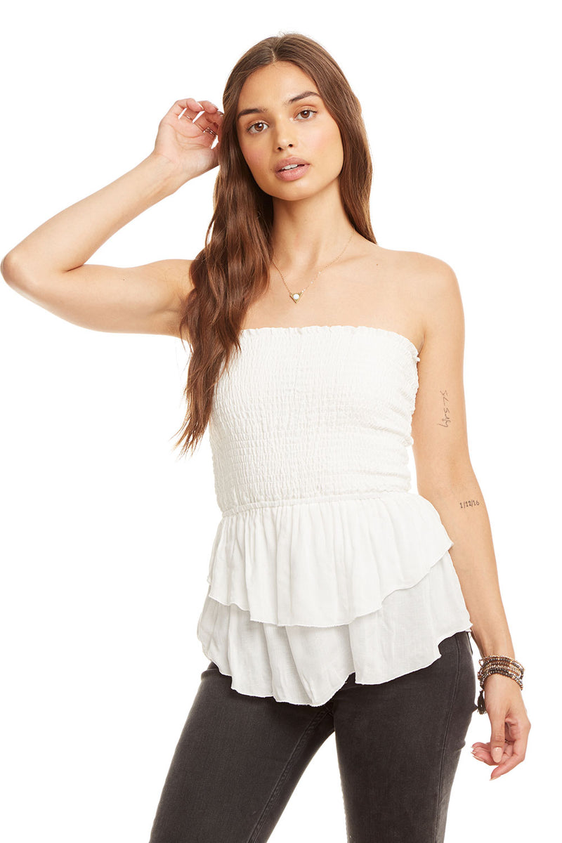 Gauze Tiered Peplum Smocked Crop Top, WOMENS, chaserbrand.com,chaser clothing,chaser apparel,chaser los angeles