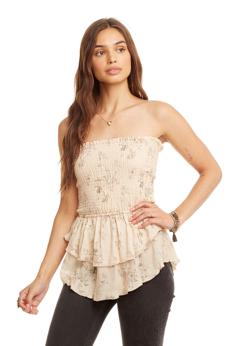 Gauze Tiered Peplum Smocked Crop Top WOMENS chaserbrand4.myshopify.com