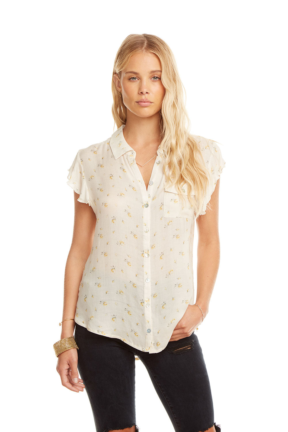 5f351dd8 Gauze Flutter Sleeve Button Down Shirttail Shirt, WOMENS,  chaserbrand.com,chaser clothing