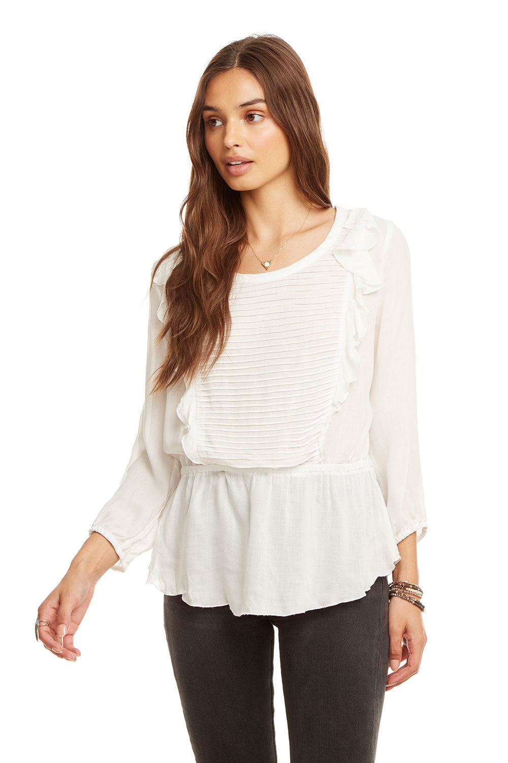 Gauze Ruffle Pintuck Peplum Top, WOMENS, chaserbrand.com,chaser clothing,chaser apparel,chaser los angeles