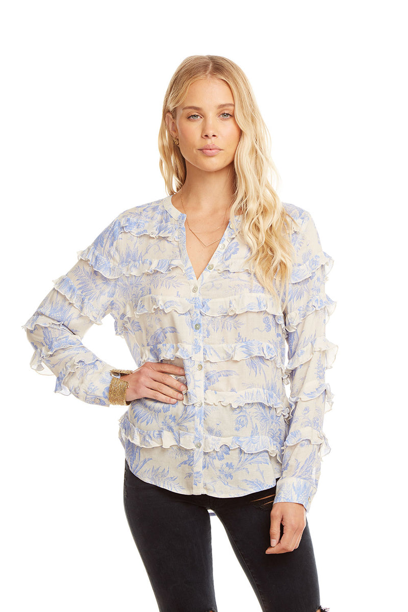 Gauze L/S Ruffle Button Down Shirt, WOMENS, chaserbrand.com,chaser clothing,chaser apparel,chaser los angeles