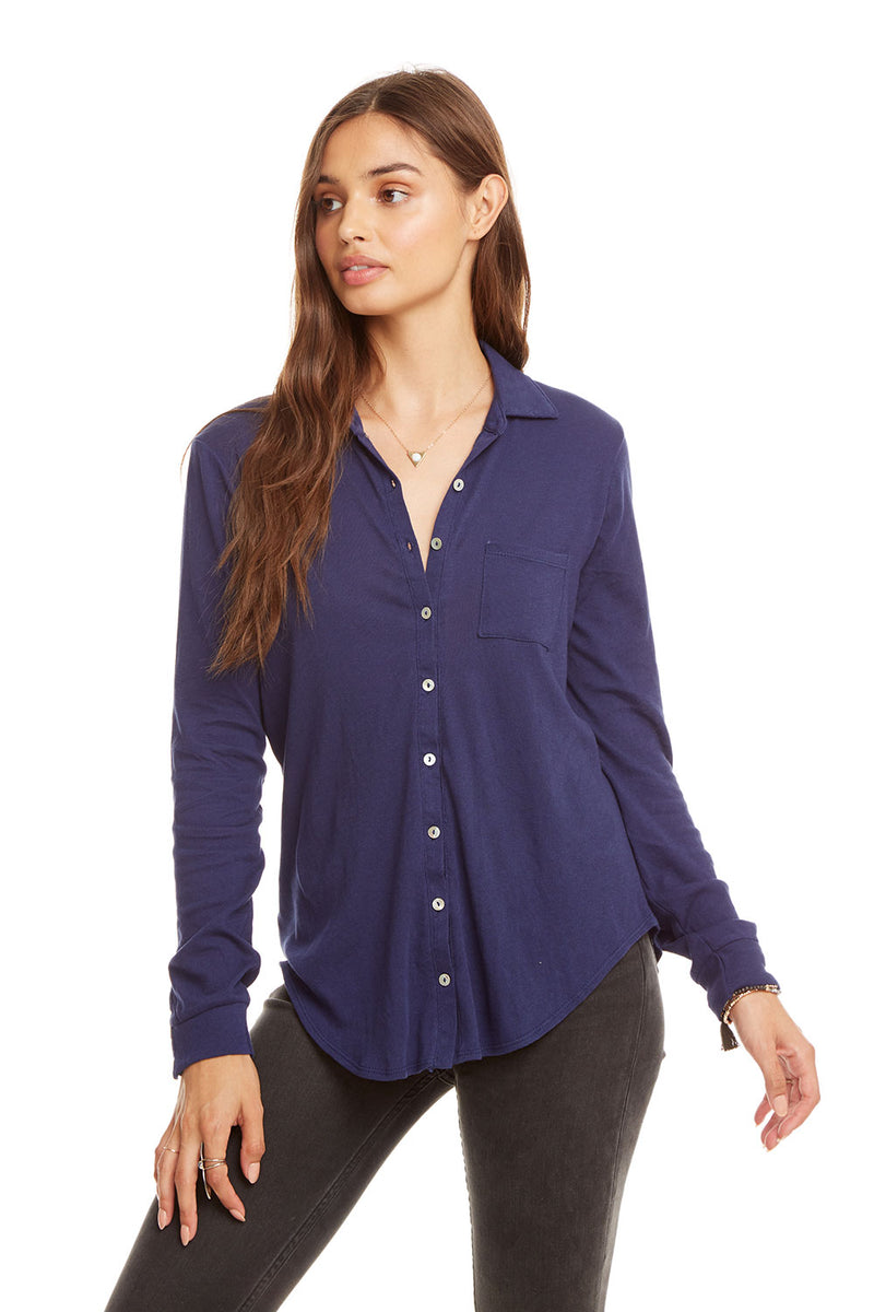 Gauzy Cotton L/S Button Down Shirt W/ Pocket, WOMENS, chaserbrand.com,chaser clothing,chaser apparel,chaser los angeles