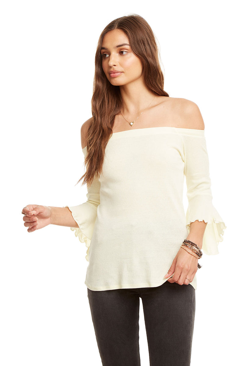 Baby Rib Off Shoulder Peplum Sleeve Top, WOMENS, chaserbrand.com,chaser clothing,chaser apparel,chaser los angeles