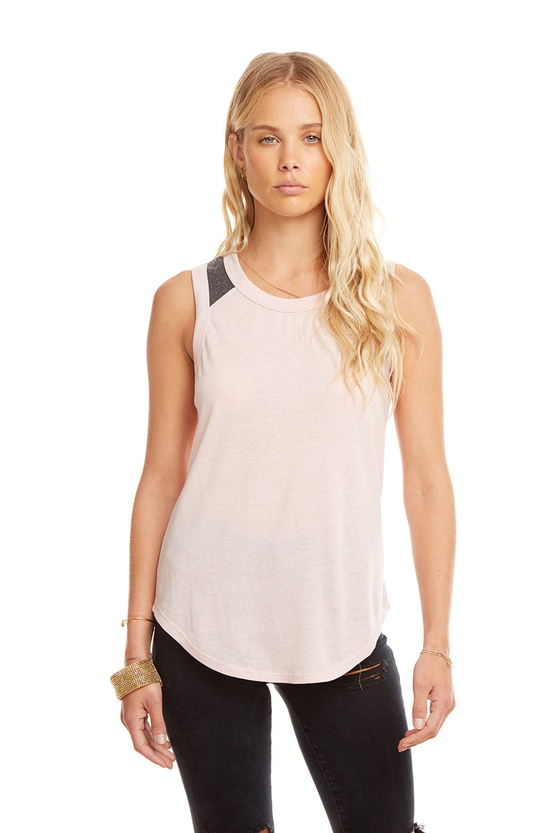 Blocked Jersey Contrast Yoke Shirttail Muscle, WOMENS, chaserbrand.com,chaser clothing,chaser apparel,chaser los angeles