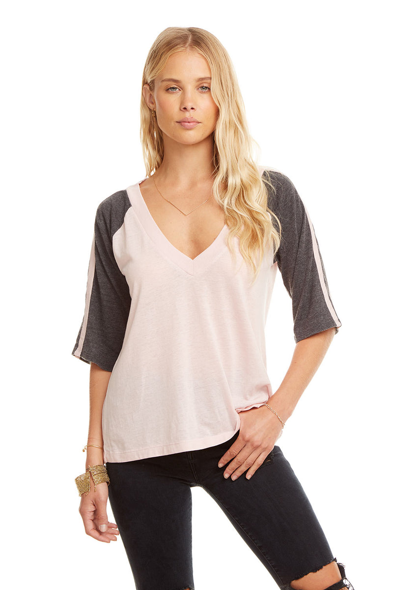 Blocked Jersey 3/4 Sleeve V Neck Raglan W/ Strappings, WOMENS, chaserbrand.com,chaser clothing,chaser apparel,chaser los angeles