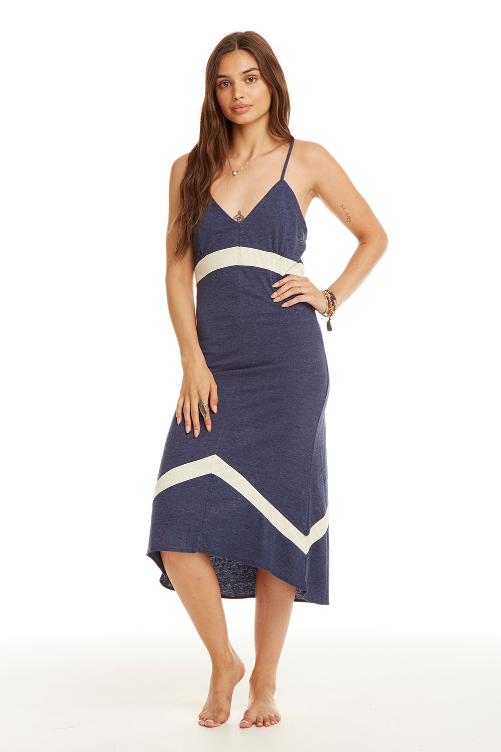 c80193182a1 Blocked Jersey Strappy Chevron Insert Midi Dress - chaserbrand.com
