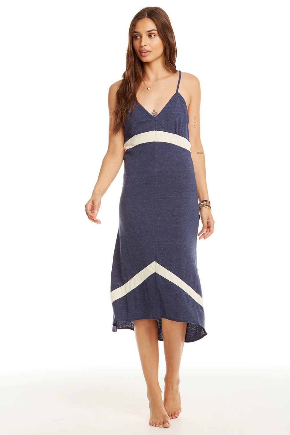 Blocked Jersey Strappy Chevron Insert Midi Dress WOMENS - chaserbrand