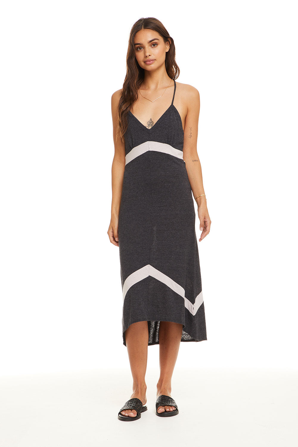 645f228e99 Blocked Jersey Strappy Chevron Insert Midi Dress - chaserbrand.com