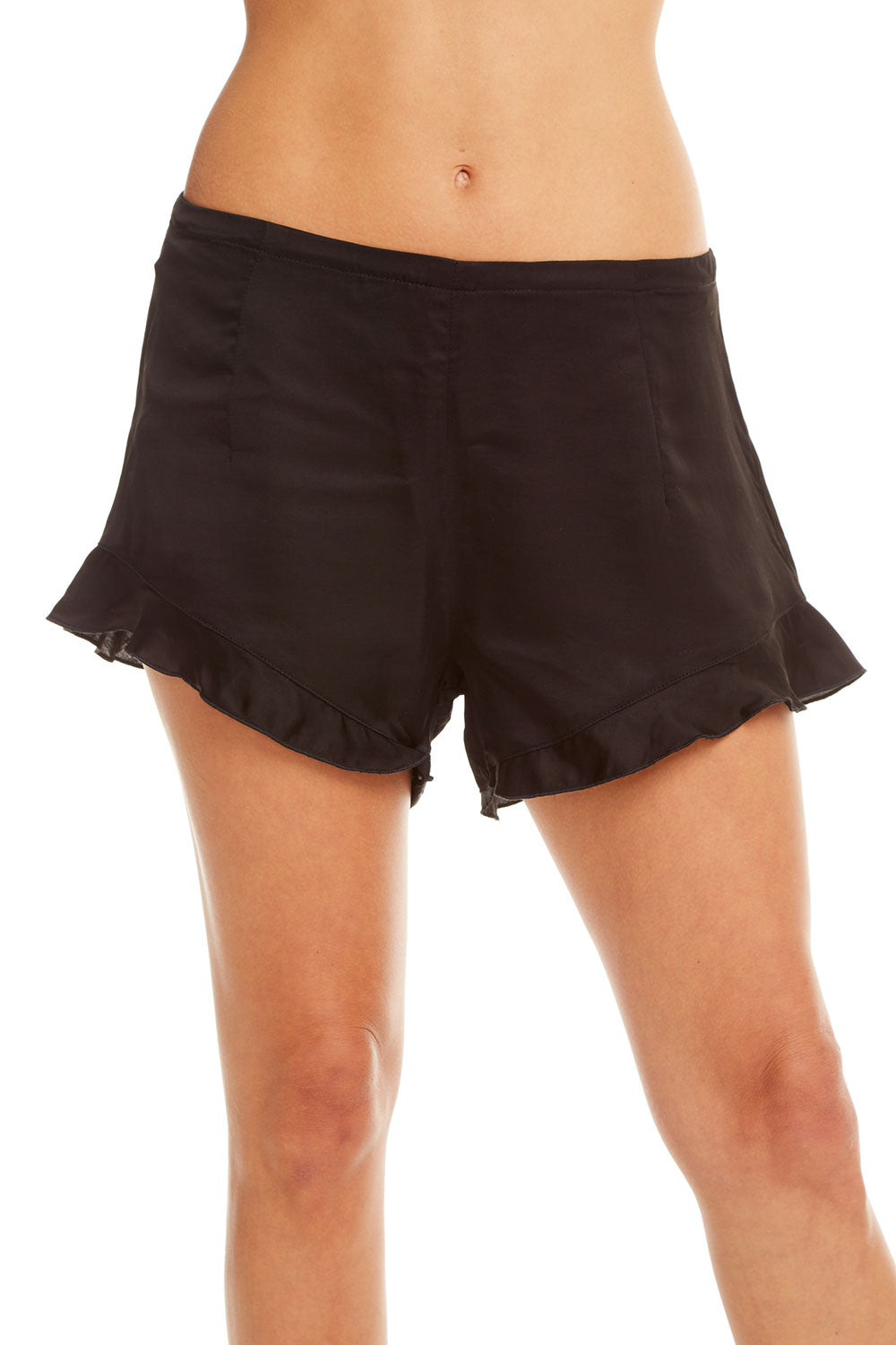 Silky Ruffle Hem Shorts, WOMENS, chaserbrand.com,chaser clothing,chaser apparel,chaser los angeles
