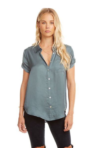 Silky Rolled S/S Button Down Shirt, WOMENS, chaserbrand.com,chaser clothing,chaser apparel,chaser los angeles