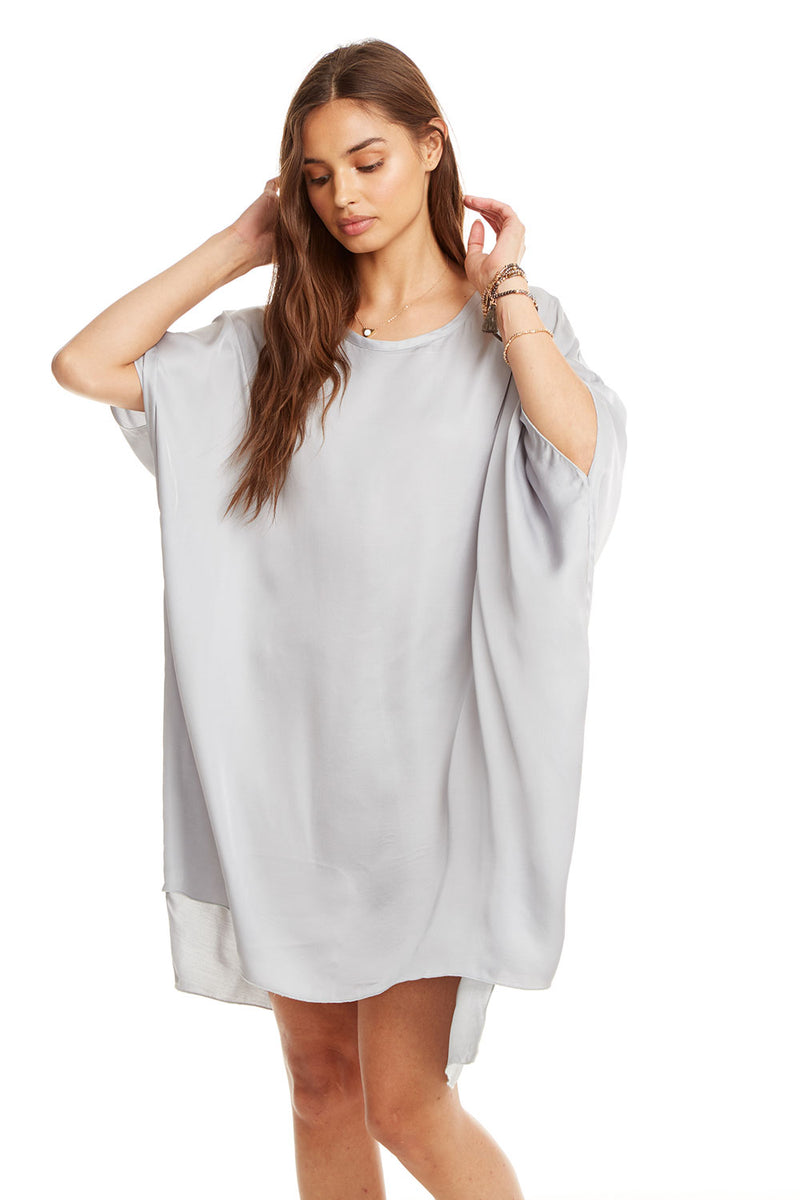 Silky Oversized Hi-Lo S/S Shirt Dress, WOMENS, chaserbrand.com,chaser clothing,chaser apparel,chaser los angeles