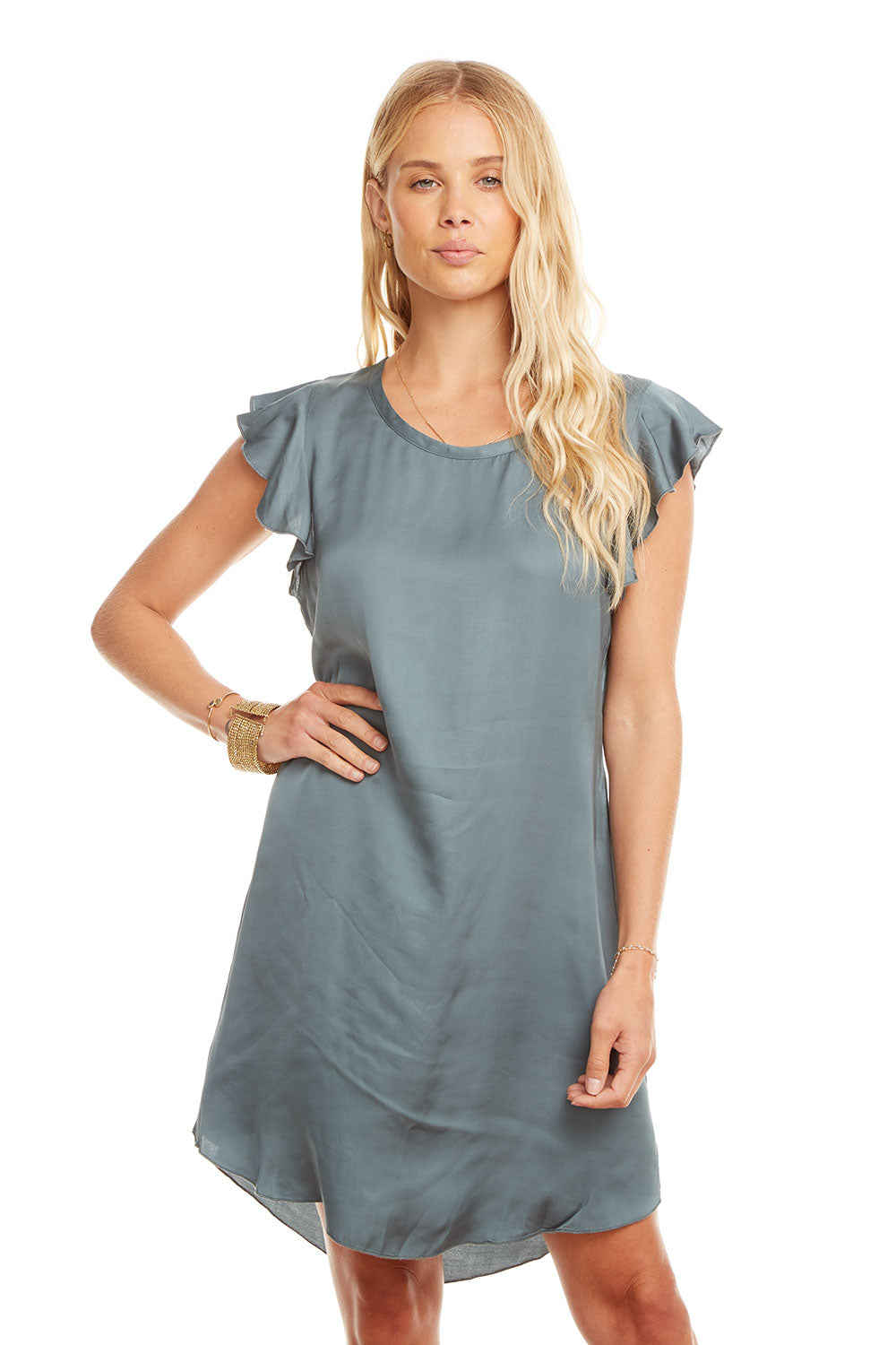 Silky Flutter Sleeve Hi-Lo Shirttail Dress WOMENS chaserbrand4.myshopify.com