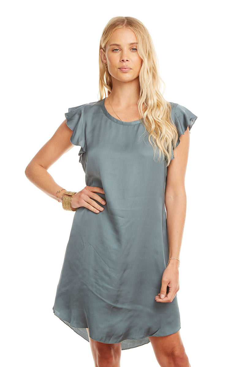 Silky Flutter Sleeve Hi-Lo Shirttail Dress, WOMENS, chaserbrand.com,chaser clothing,chaser apparel,chaser los angeles