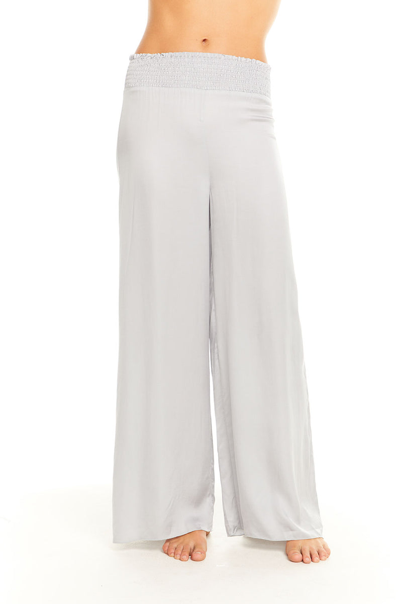 Silky Smocked Waist Wide Leg Pant, WOMENS, chaserbrand.com,chaser clothing,chaser apparel,chaser los angeles