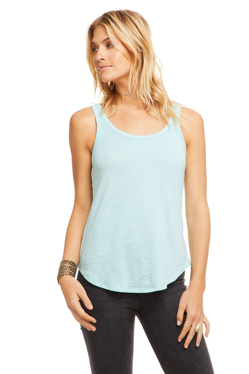 Linen Jersey Scoop Neck Shirttail Tank, WOMENS, chaserbrand.com,chaser clothing,chaser apparel,chaser los angeles
