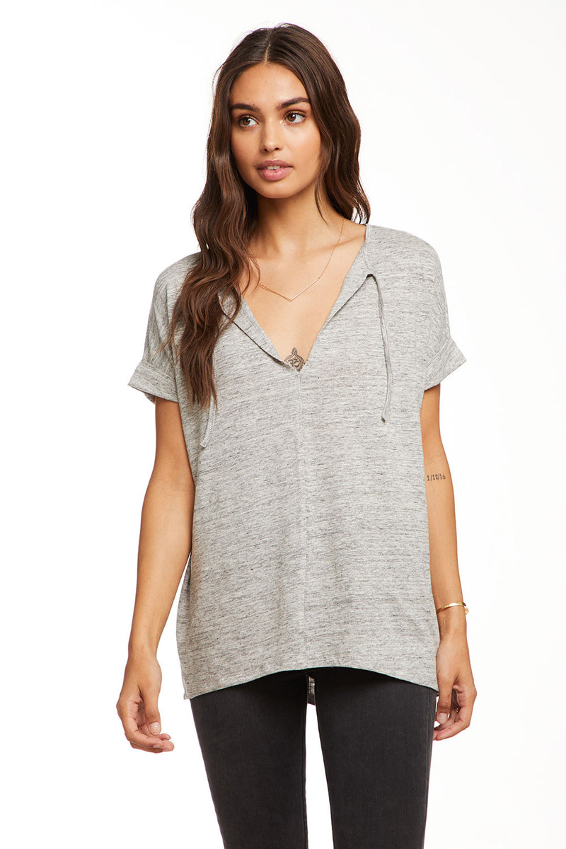 Linen Jersey Oversized Drop Shoulder S/S V Neck Top W/ Ties, WOMENS, chaserbrand.com,chaser clothing,chaser apparel,chaser los angeles