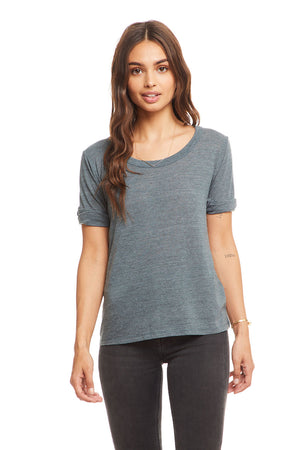 Triblend Cropped Rolled S/S Knot Back Tee, WOMENS, chaserbrand.com,chaser clothing,chaser apparel,chaser los angeles