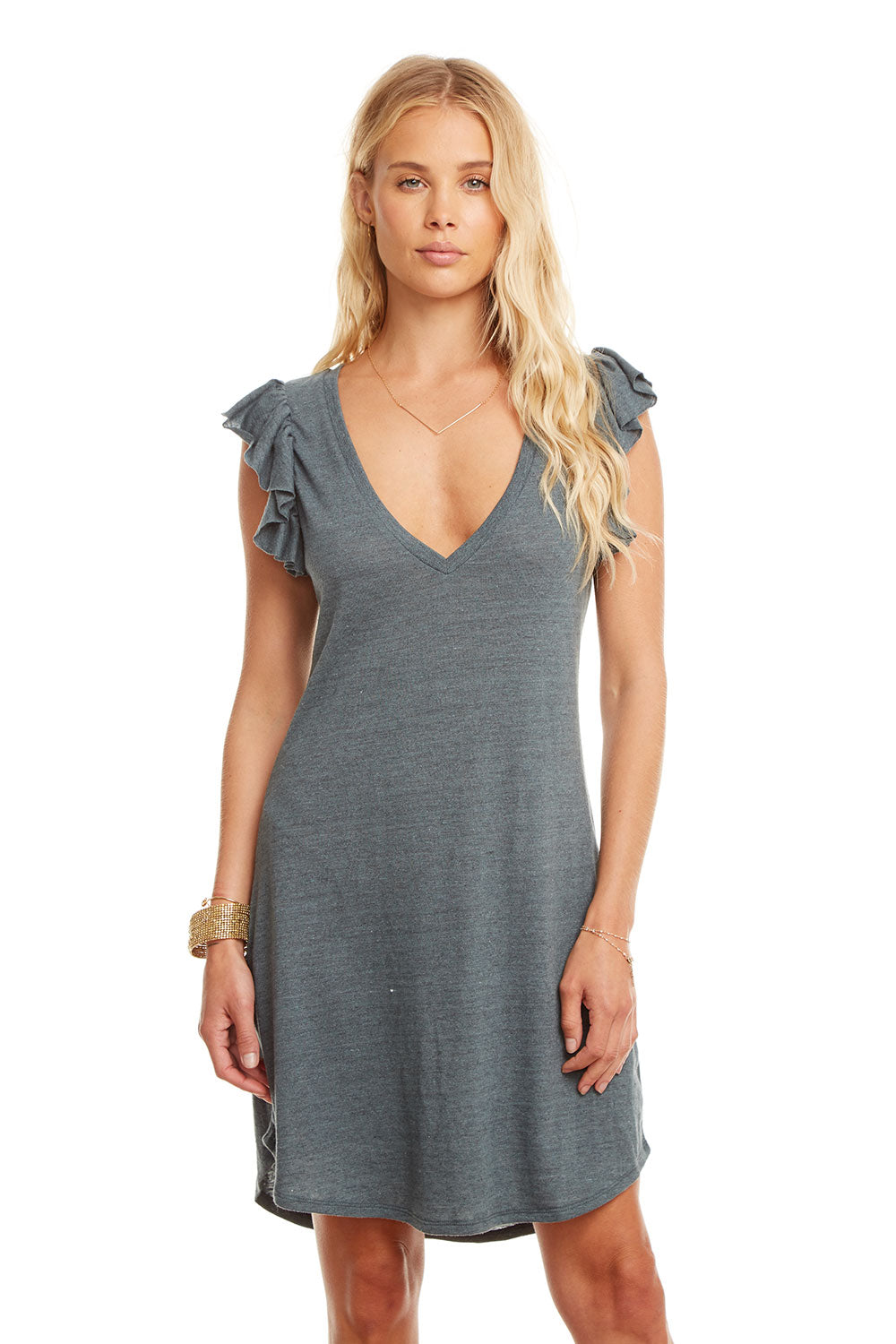 Triblend Flutter Sleeve Hi-Lo V Neck Shirttail Dress, WOMENS, chaserbrand.com,chaser clothing,chaser apparel,chaser los angeles