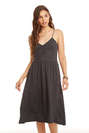 Triblend Ruched Front Midi Cami Skater Dress, WOMENS, chaserbrand.com,chaser clothing,chaser apparel,chaser los angeles
