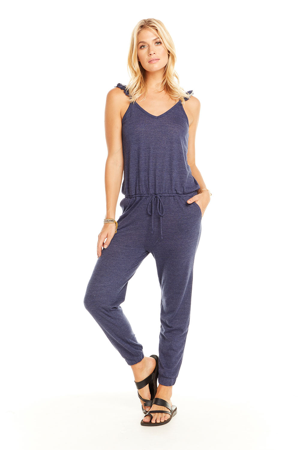 Triblend Flutter V Neck Jumpsuit, WOMENS, chaserbrand.com,chaser clothing,chaser apparel,chaser los angeles