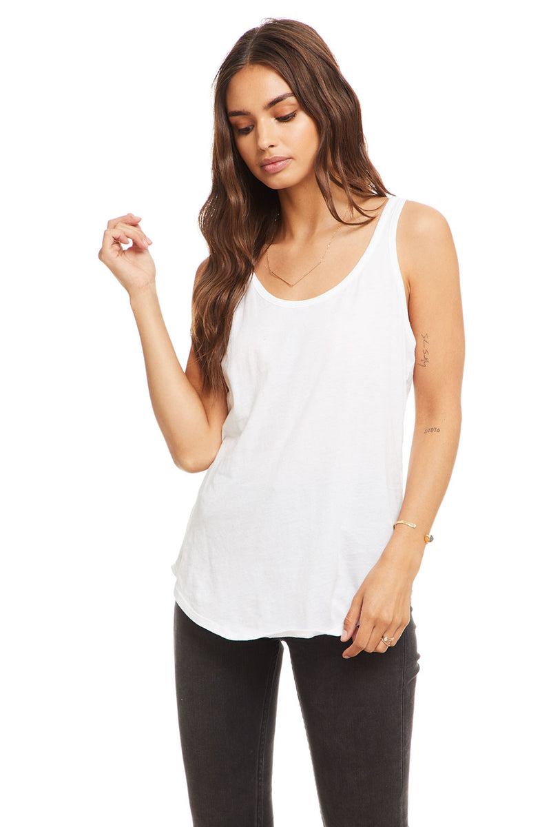 Cotton Basic Seamed Shirttail Racer Back Tank WOMENS chaserbrand4.myshopify.com