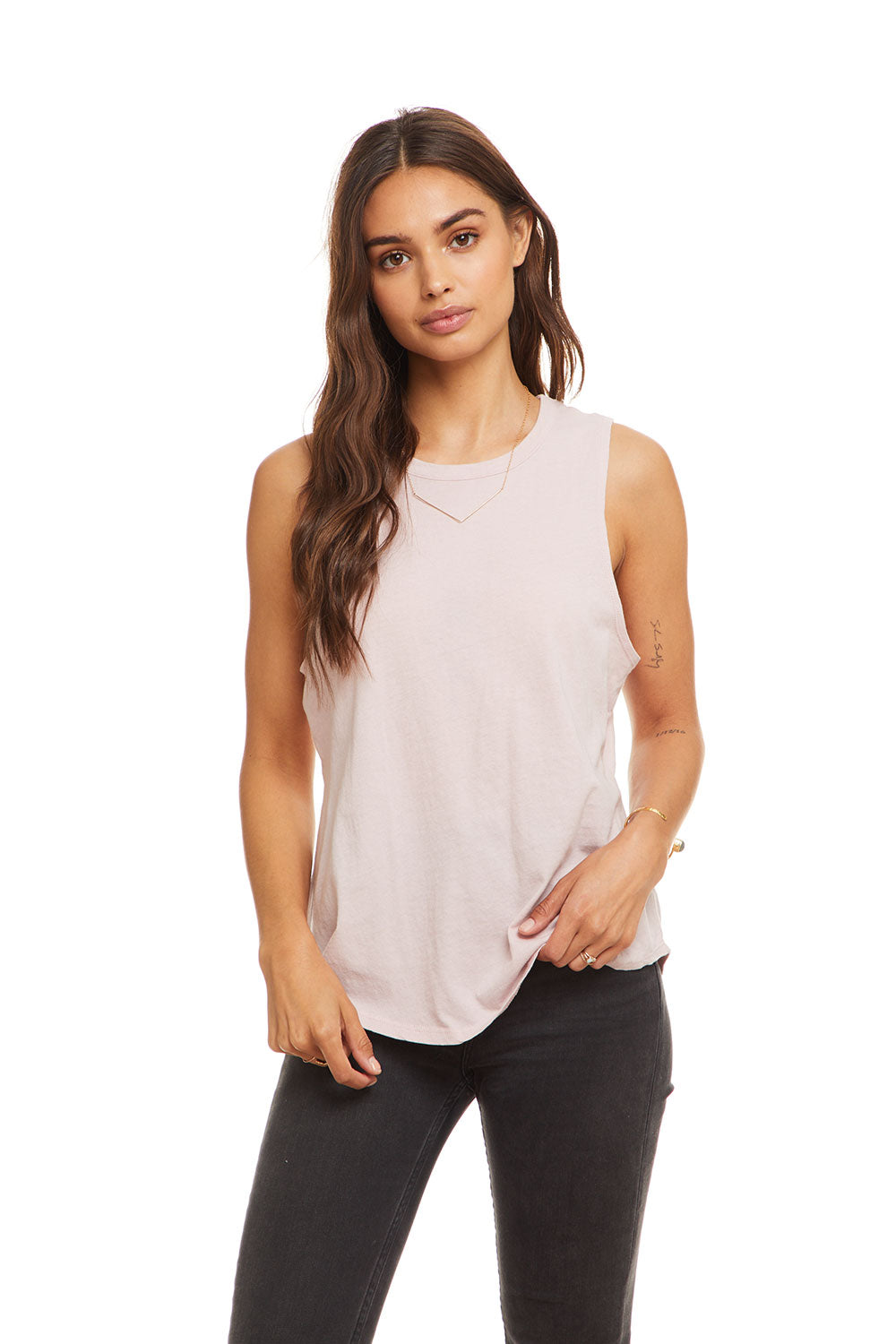 Cotton Basic Seamed Shirttail Muscle Tank, WOMENS, chaserbrand.com,chaser clothing,chaser apparel,chaser los angeles
