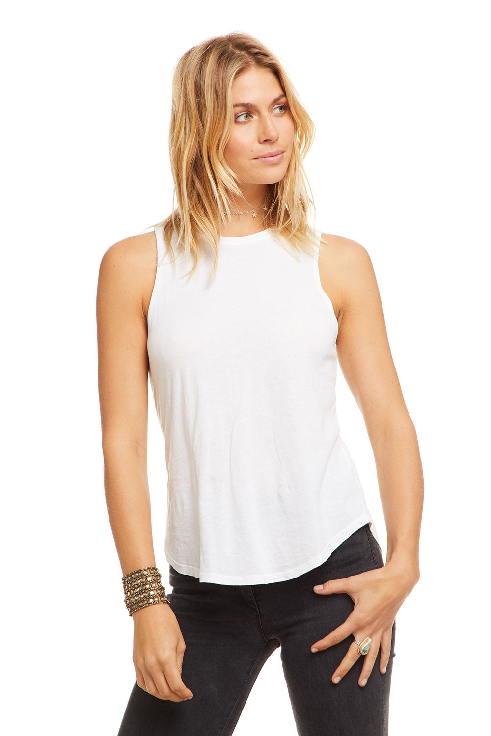 Cotton Basic Seamed Shirttail Muscle Tank WOMENS chaserbrand4.myshopify.com