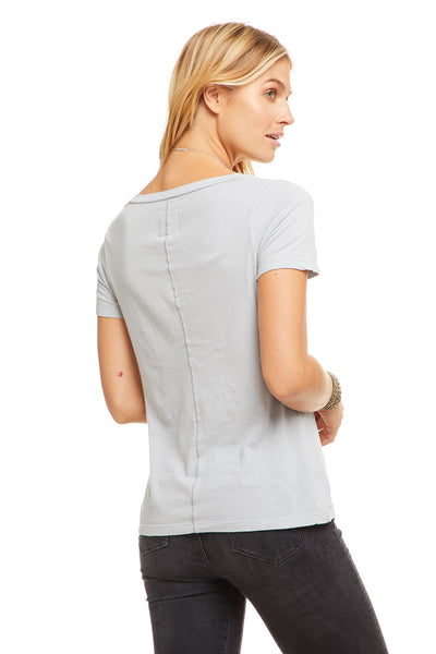 Cotton Basic Seamed S/S V Neck Tee, WOMENS, chaserbrand.com,chaser clothing,chaser apparel,chaser los angeles