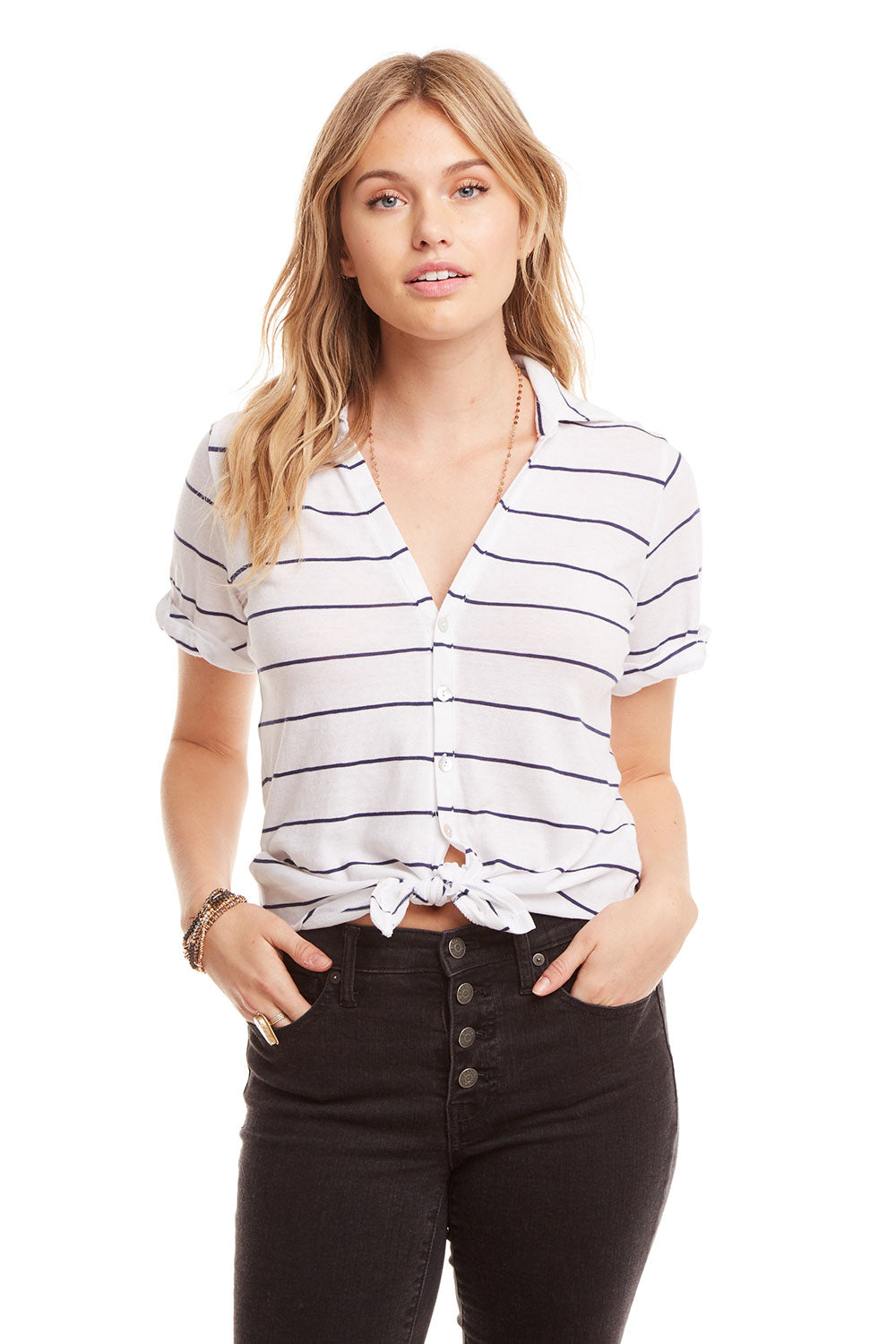Gauzy Cotton Rolled S/S Button Down Shirt WOMENS chaserbrand4.myshopify.com