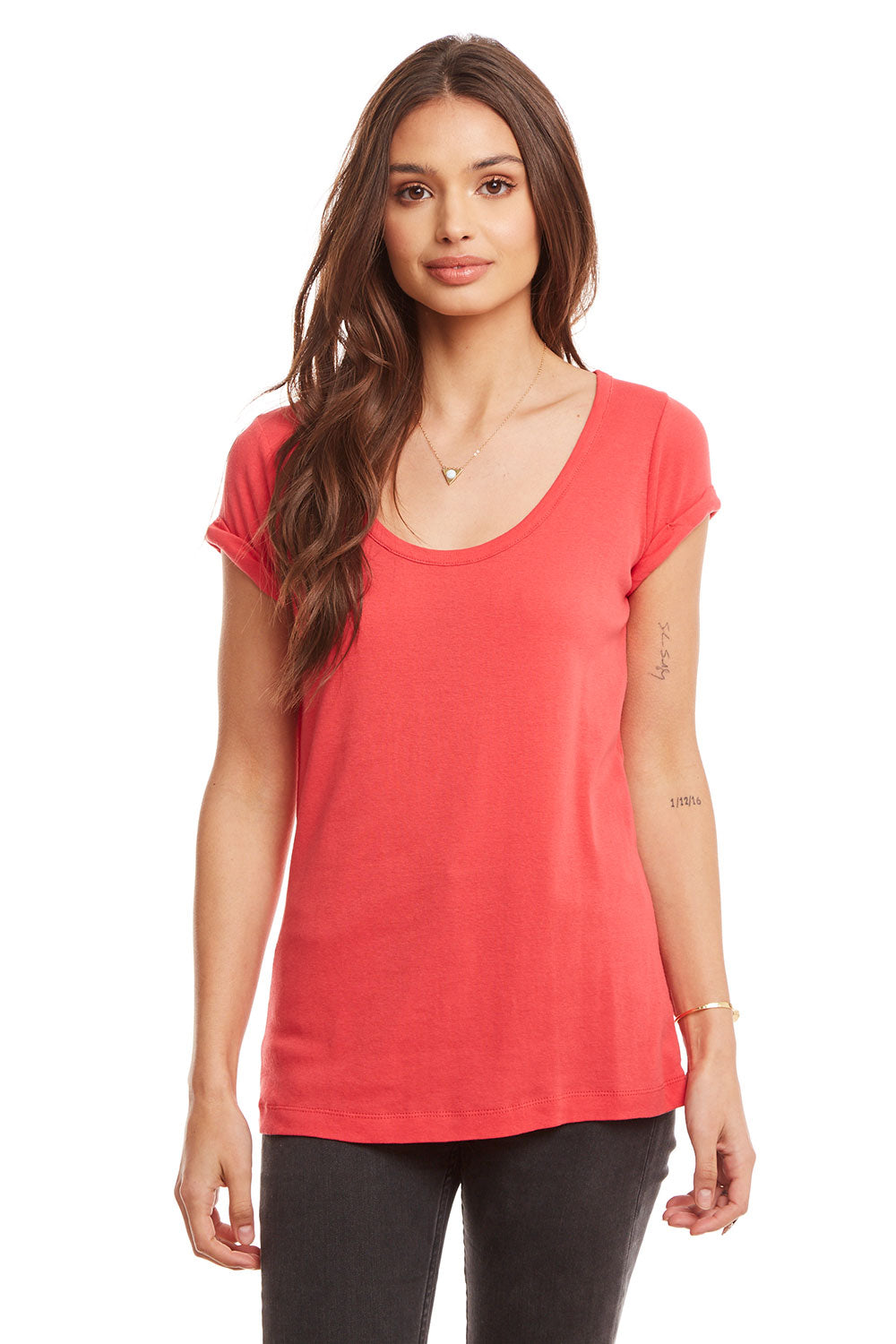 Baby Rib Rolled Short Sleeve Scoop Neck Slim Tee, WOMENS, chaserbrand.com,chaser clothing,chaser apparel,chaser los angeles