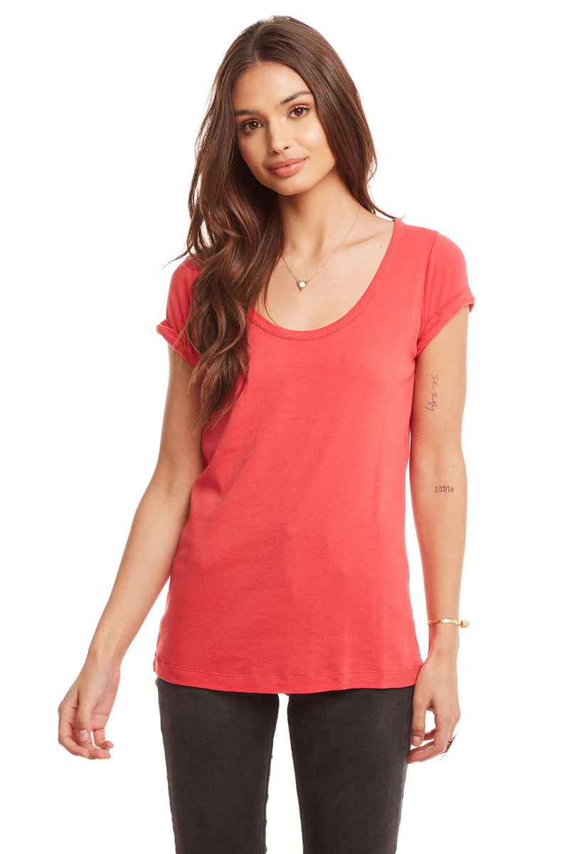 Baby Rib Rolled Short Sleeve Scoop Neck Slim Tee WOMENS chaserbrand4.myshopify.com