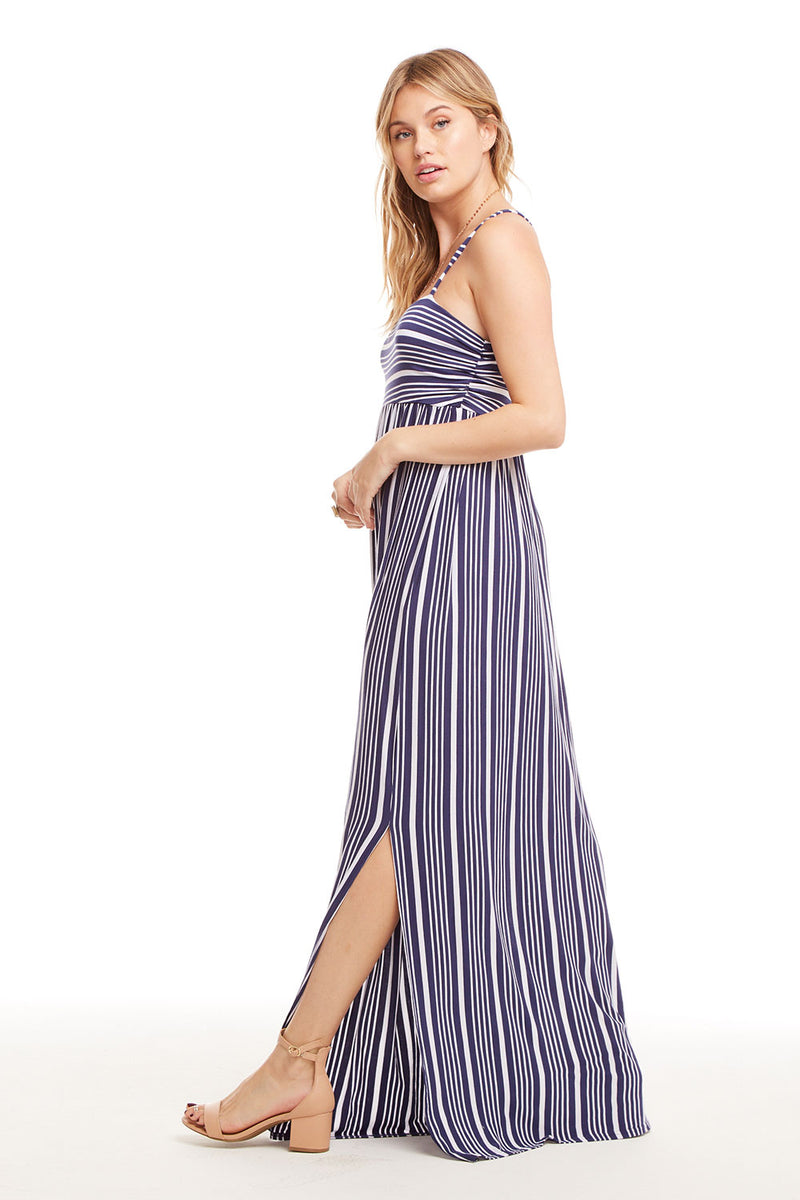 Cool Jersey T Back Ruched Maxi Dress W/ Slits, WOMENS, chaserbrand.com,chaser clothing,chaser apparel,chaser los angeles