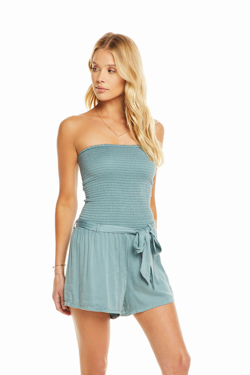 Heirloom Wovens Smocked Strapless Romper W Tie Waist, WOMENS, chaserbrand.com,chaser clothing,chaser apparel,chaser los angeles