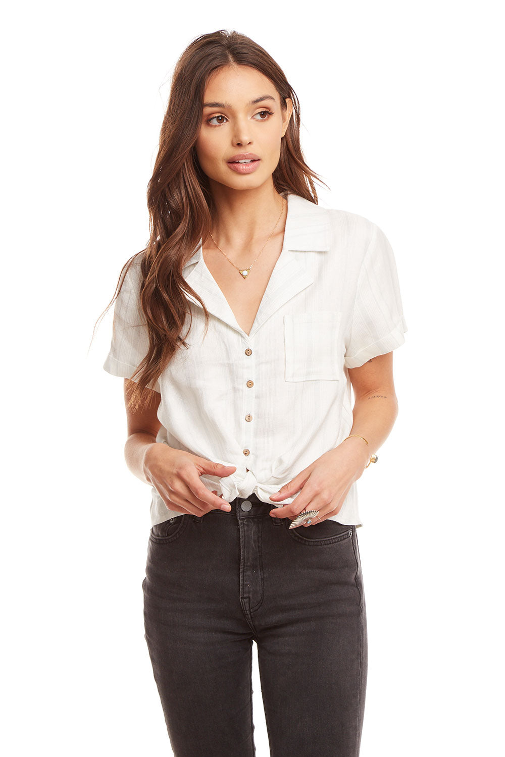 Beachy Linen Rolled S/S Tie Front Button Down Shirt WOMENS chaserbrand4.myshopify.com