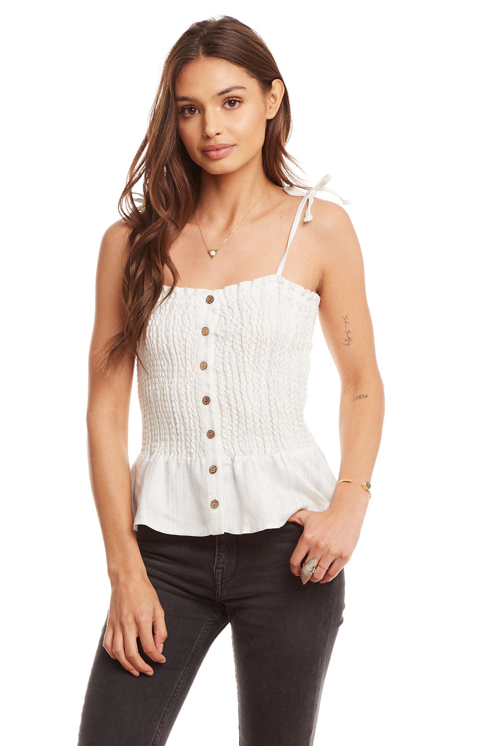 Beachy Linen Smocked Tie Strap Button Front Peplum Cami WOMENS chaserbrand4.myshopify.com