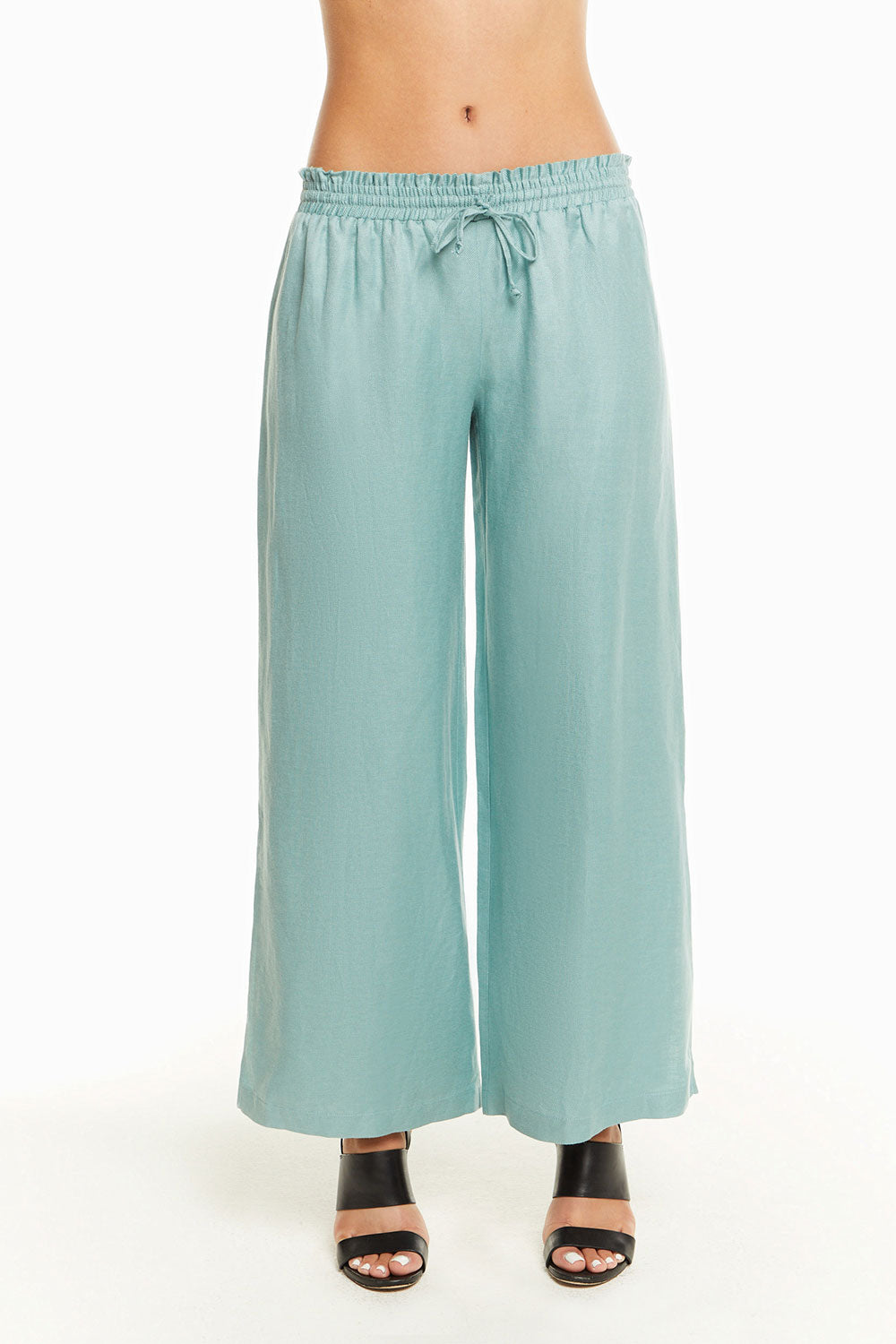 Beachy Linen Paperbag Waist Side Slit Pant, WOMENS, chaserbrand.com,chaser clothing,chaser apparel,chaser los angeles