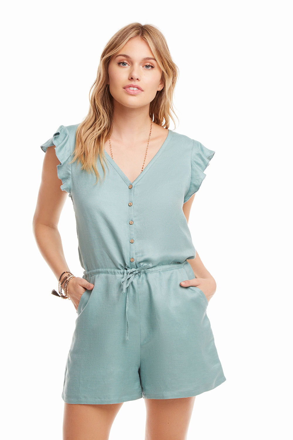 Beachy Linen Flutter Sleeve Button Down Shorts Romper, WOMENS, chaserbrand.com,chaser clothing,chaser apparel,chaser los angeles