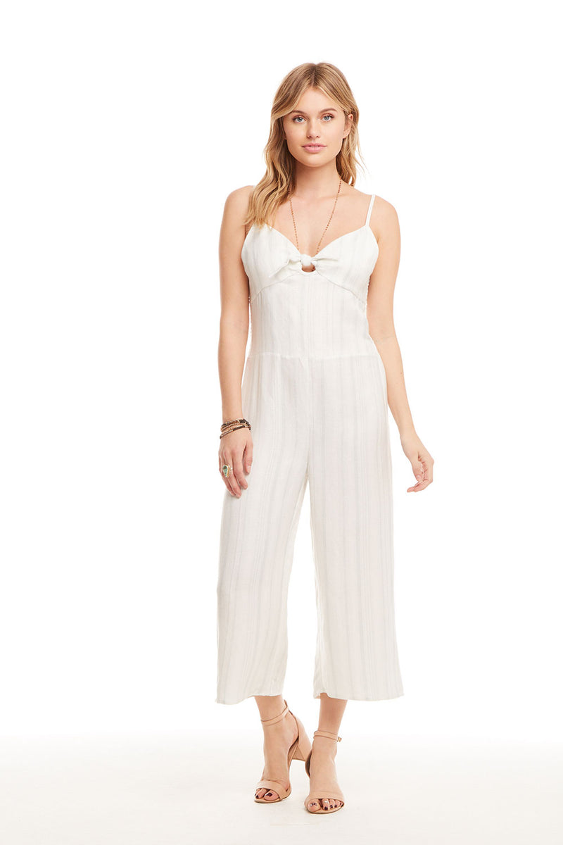 Beachy Linen Tie Front Smocked Cami Cropped Jumpsuit WOMENS chaserbrand4.myshopify.com