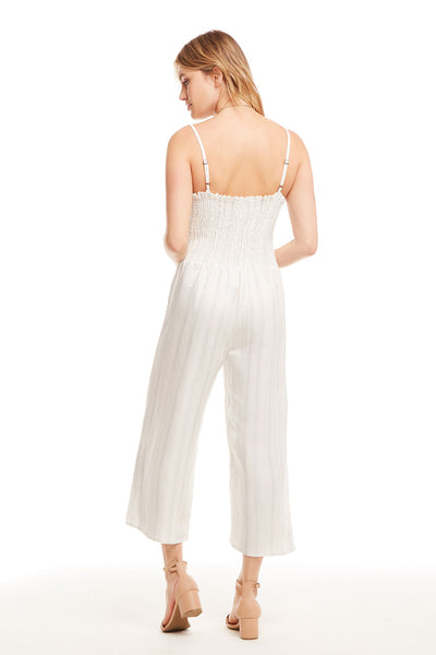 Beachy Linen Tie Front Smocked Cami Cropped Jumpsuit, WOMENS, chaserbrand.com,chaser clothing,chaser apparel,chaser los angeles