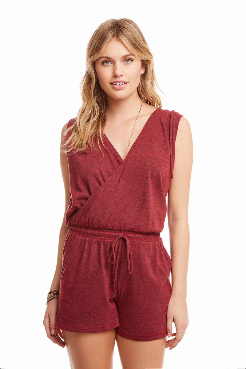 Triblend Sleeveless Hooded Surplice Romper, WOMENS, chaserbrand.com,chaser clothing,chaser apparel,chaser los angeles