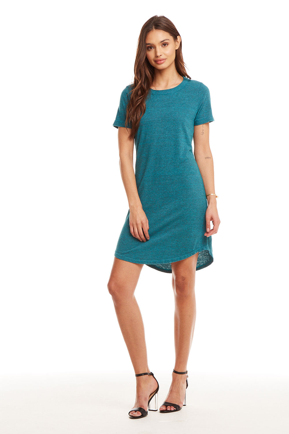 Triblend S/S Crew Neck Hi-Lo Shirttail T Shirt Dress WOMENS - chaserbrand