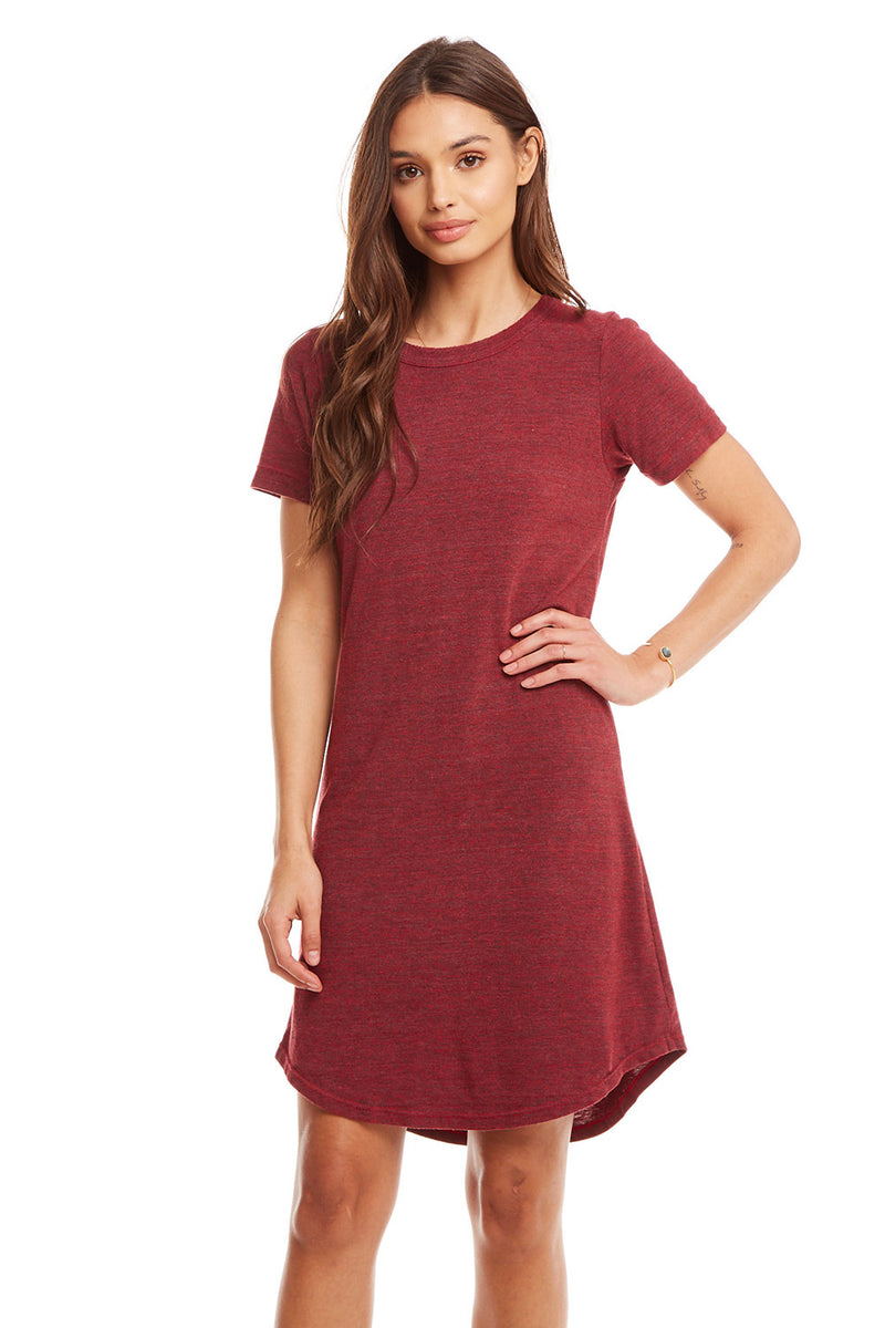 Triblend S/S Crew Neck Hi-Lo Shirttail T Shirt Dress, WOMENS, chaserbrand.com,chaser clothing,chaser apparel,chaser los angeles