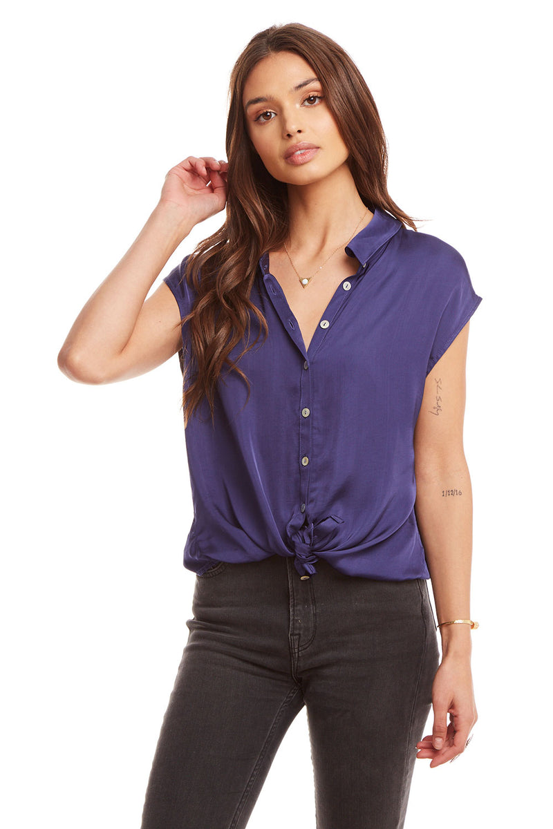 Silky Basics Cap Sleeve Tie Front Button Down Shirt WOMENS chaserbrand4.myshopify.com