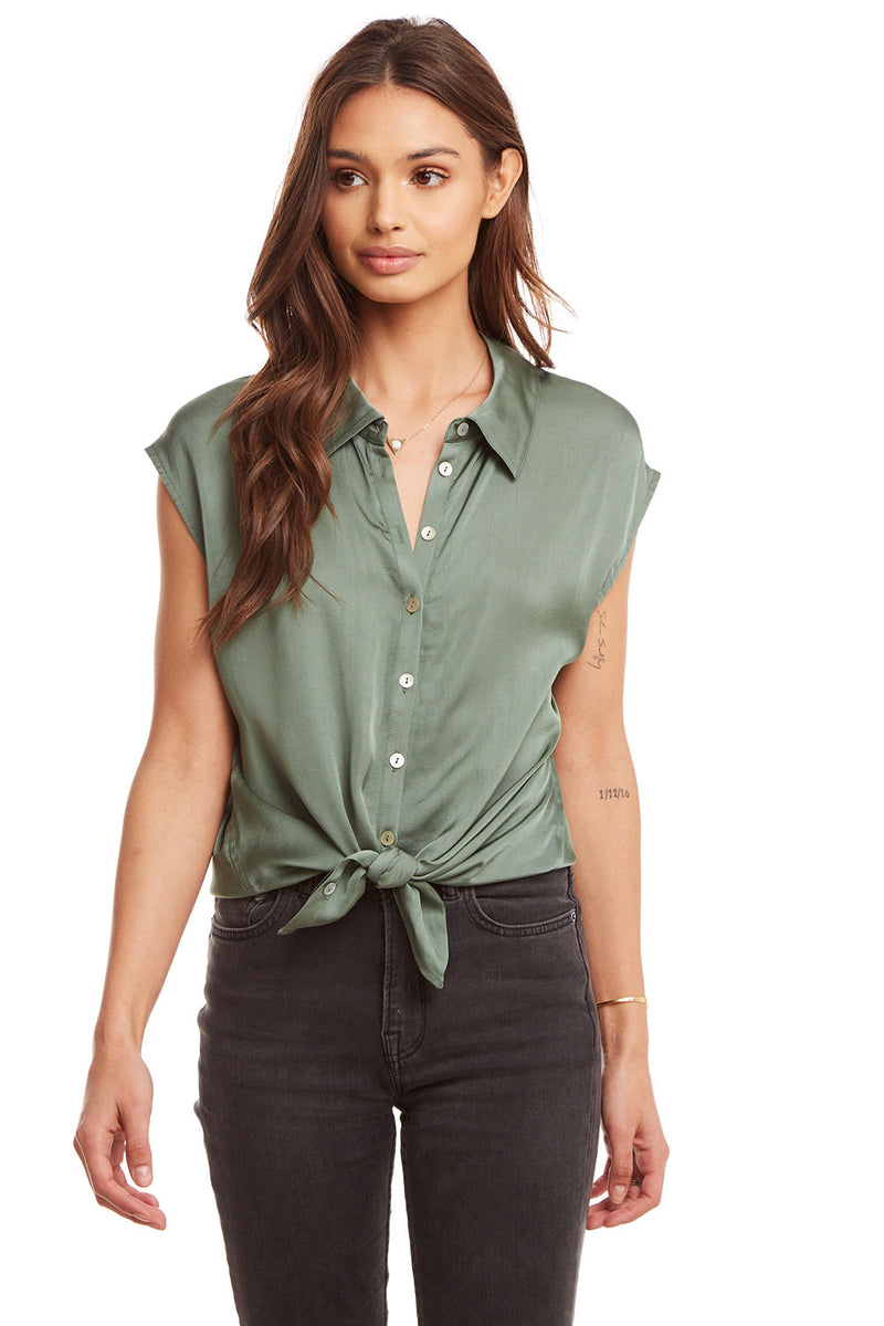 Silky Basics Cap Sleeve Tie Front Button Down Shirt, WOMENS, chaserbrand.com,chaser clothing,chaser apparel,chaser los angeles