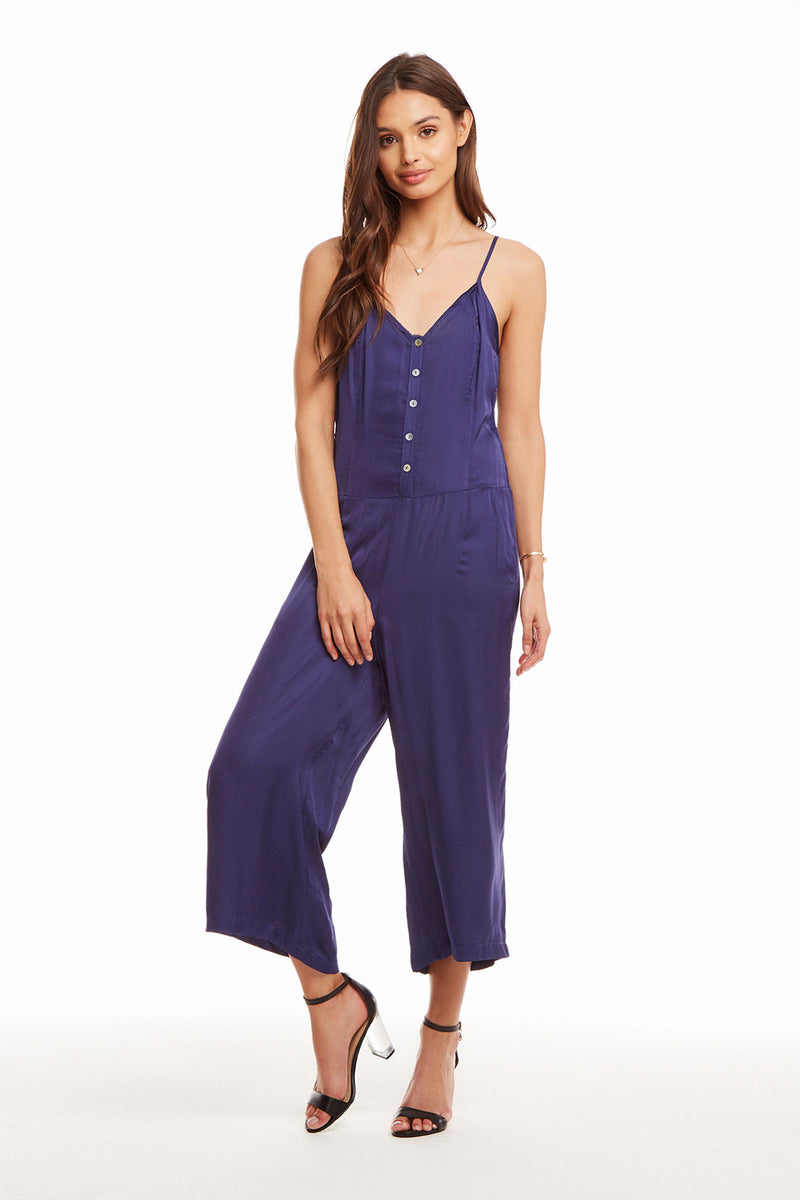Silky Basics Button Front Cropped Cami Jumpsuit, WOMENS, chaserbrand.com,chaser clothing,chaser apparel,chaser los angeles