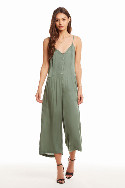 Silky Basics Button Front Cropped Cami Jumpsuit WOMENS chaserbrand4.myshopify.com