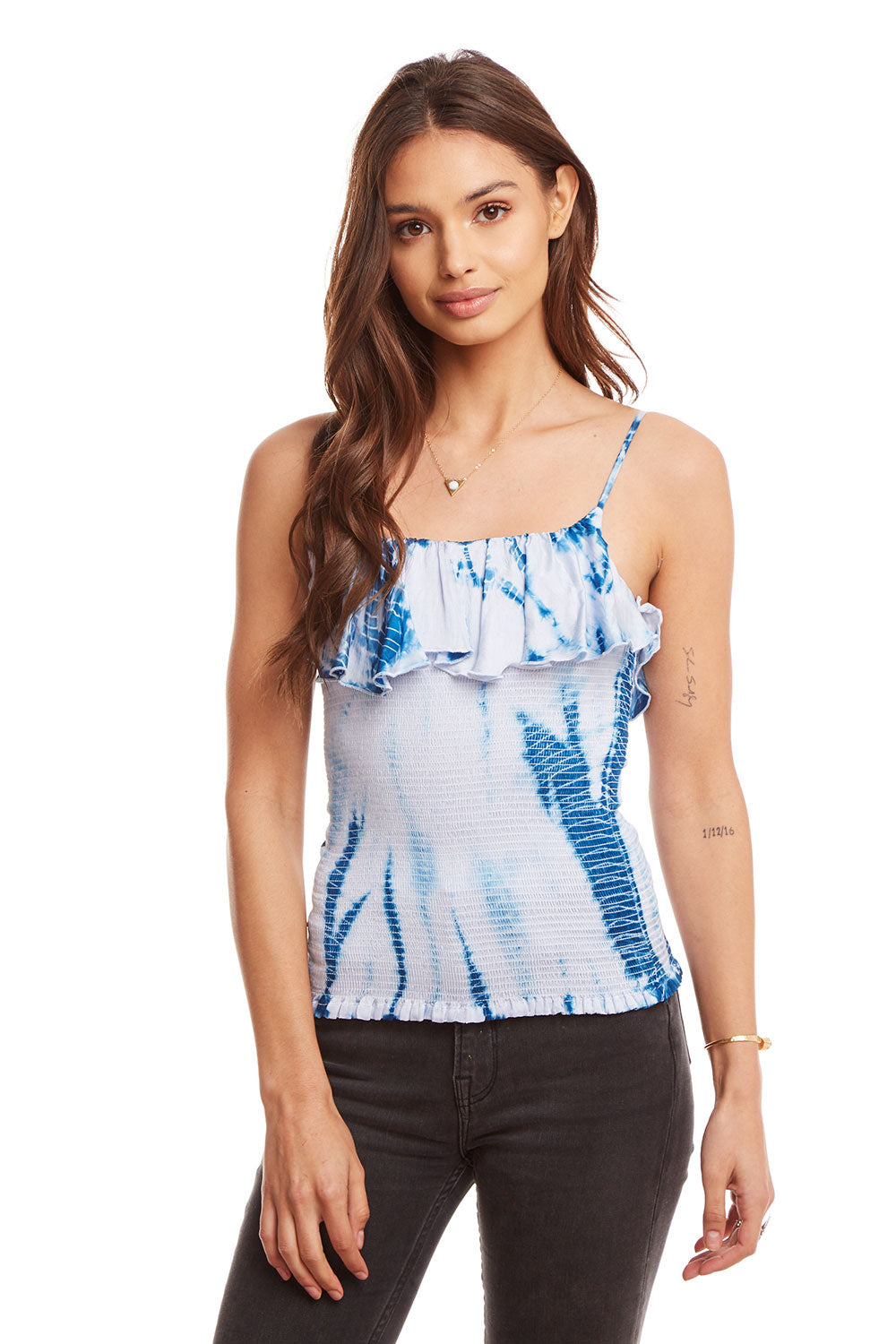 Silky Basics Smocked Ruffle Cropped Cami, WOMENS, chaserbrand.com,chaser clothing,chaser apparel,chaser los angeles