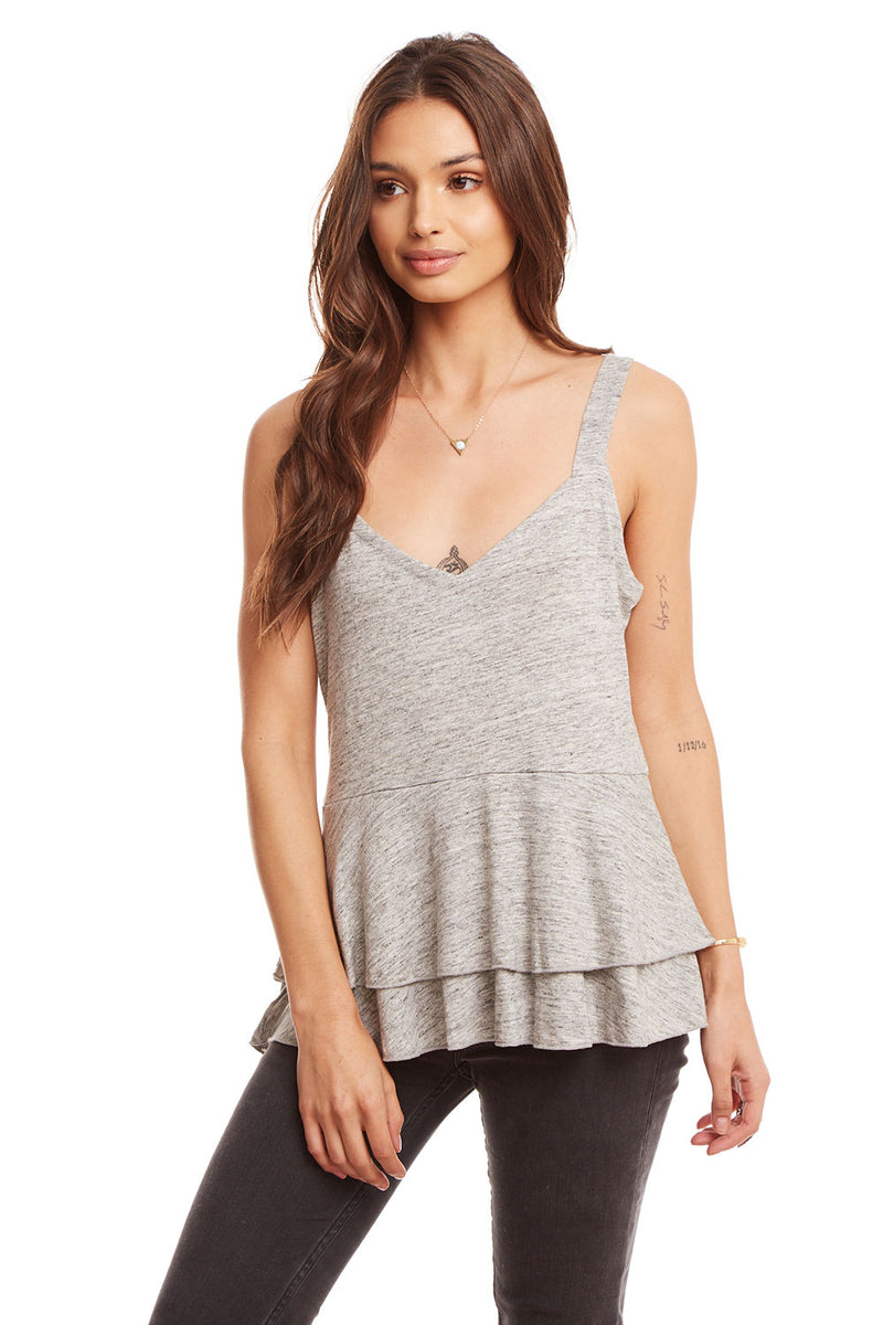 Linen Jersey Tiered Peplum Cami, WOMENS, chaserbrand.com,chaser clothing,chaser apparel,chaser los angeles