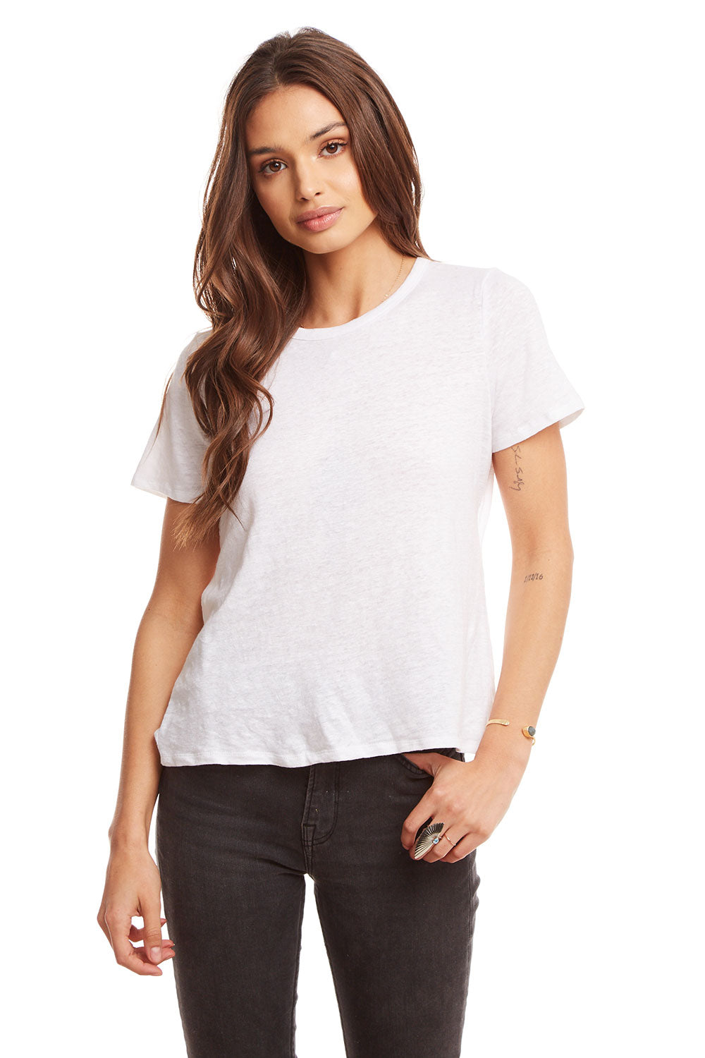 Linen Jersey Cropped S/S Open Tie Back Tee WOMENS chaserbrand4.myshopify.com